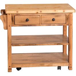 Sedona Rustic Oak Kitchen Cart thumb