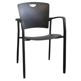 Black Polypropylene Stacking Chair, with Arms thumb