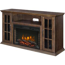 "54"" Bennett Electric Infrared Media Fireplace with Bluetooth, Rustic Brown Finish thumb"