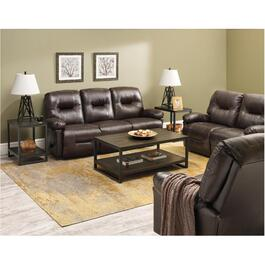 Zaynah Walnut Leather Match Reclining Sofa thumb