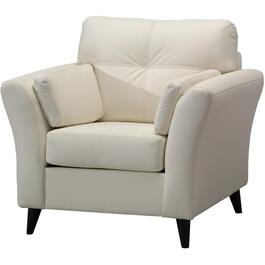 White Leather Match Sofa thumb