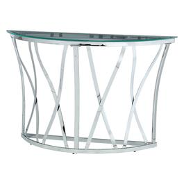 Glass/Chrome Metal Halfmoon Sofa Table with X Base thumb