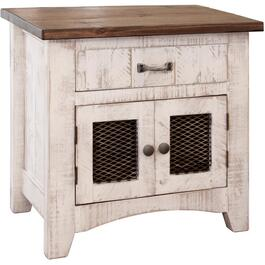 1 Drawer, 2 Doors White Pueblo Night Table thumb