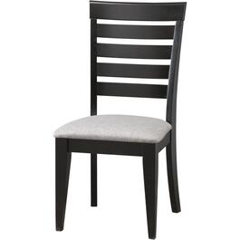 Peppercorn Slat Back Wood Side Chair, with Upholstered Seat thumb