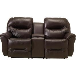 Chocolate Leather Recliner Loveseat, with Console thumb