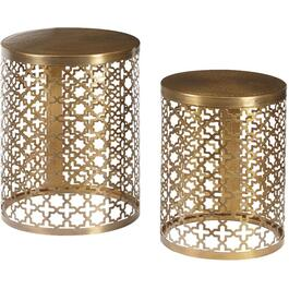 Set of 2 Perforated Metal Oval End Tables thumb