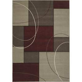 6' x 8' Casa Red and Grey Squares Area Rug thumb