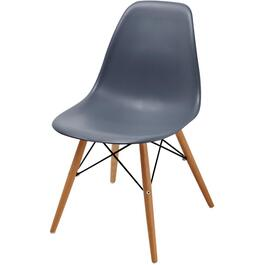 Dark Grey Plastic Chair, with Beechwood Legs thumb