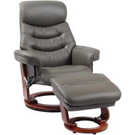 Iron Grey Leather Match Happy Recliner, with Ottoman thumb