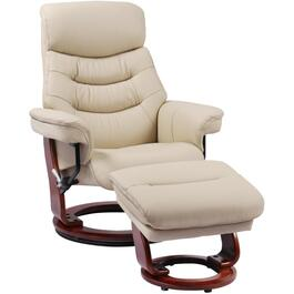 Taupe Leather Match Happy Recliner, with Ottoman thumb