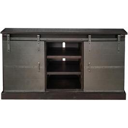 "65"" x 18.5"" x 35"" Charred Oak Barn Door Style TV Console, with Gunmetal Metalic doors thumb"