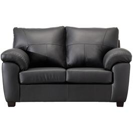 Black Madras Leather Match Loveseat thumb