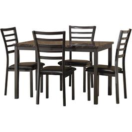 5 Piece Black Metal/Faux Marble Rectangular Dinette Set thumb
