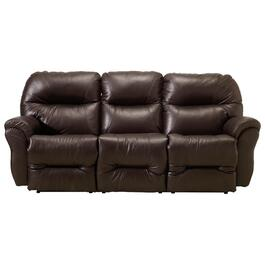 Brown Power Leather Match Recliner Sofa thumb