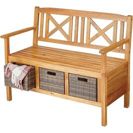 Lenz Wood Bench, with 3 Wicker Drawers thumb