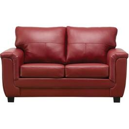 Madras Crimson Leather Match Loveseat thumb