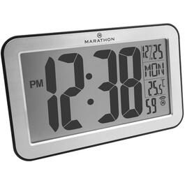 "9"" x 5.5"" x 1"" Atomic LCD Wall/Freestanding Indoor Temperature Silver Frame Clock thumb"