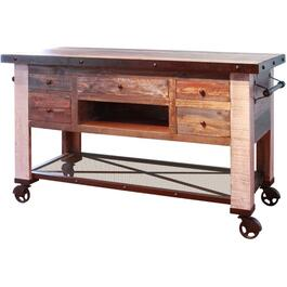 5 Drawer Antique Kitchen Island, with Iron Shelf and Casters thumb