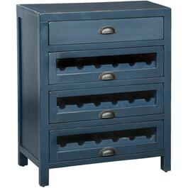 4 Drawer Fountain Pen Blue Server, with Wine Rack thumb