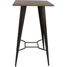 Bamboo Top and Metal Square High Bistro Table thumb