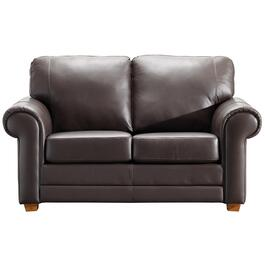 Coffee Brown Impala Leather Loveseat thumb