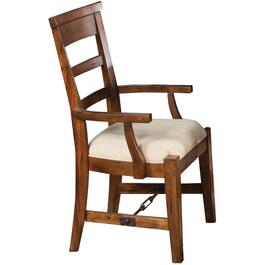 Vintage Mocha Tuscany Wood Arm Chair, with Cushion Seat thumb