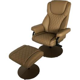 Finesse Beige Swivel Recliner, with Ottoman thumb
