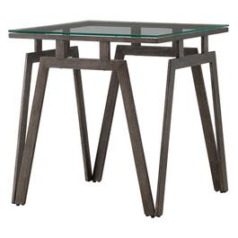 Taupe/Metal Square End Table, with Glass Top thumb