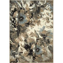 6' x 11' Casa Blue Taupe Watercolour Flower Area Rug thumb