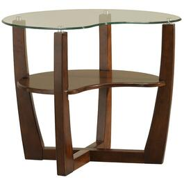 Espresso Kidney Bean End Table, with Glass thumb