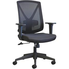 Black Mesh Fabric Office Chair, with Upholstered Seat thumb