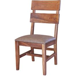 Parota Wood Side Chair, with Upholstered Seat thumb