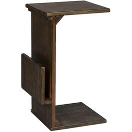 Tobacco Leaf Square Chairside Table, with Magazine Rack thumb