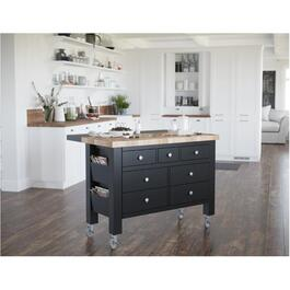 Black Kitchen Island, with Casters thumb