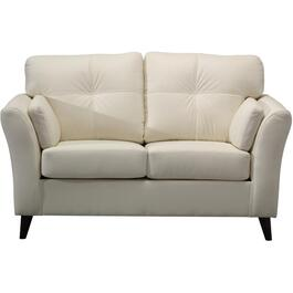 White Leather Match Loveseat thumb