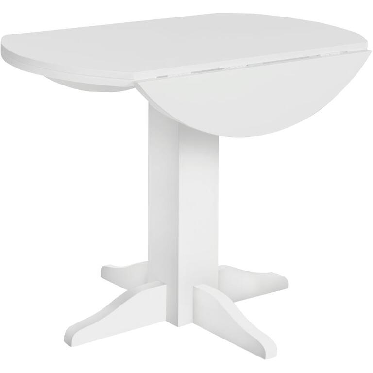 White Lauren Round Dining Table With Drop Leaf Home
