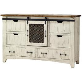 6 Drawer White Pueblo Dresser thumb