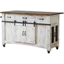 Pueblo Collection White Kitchen Island thumb