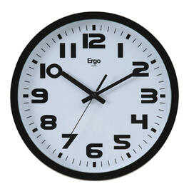 "12"" Round Black Sweep Wall Clock, with Quiet Sweep Movement thumb"