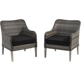 2 Pack Wood and Wicker Heritage Chat Chairs, with Cushions thumb