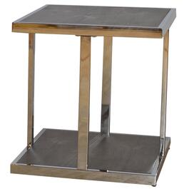Walnut Finish Metal/Wood Square End Table thumb