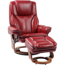 Ruby Red Leather Match Hana Recliner, with Ottoman thumb