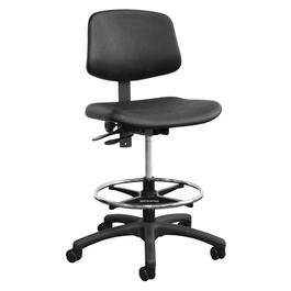 Black Leather Like Low Back Office Chair thumb