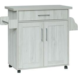 Light Oak Microwave Utility Cart thumb