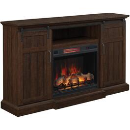"68-1/4"" Manning Saw Cut Espresso Electric Fireplace/TV Stand thumb"