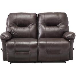 Zaynah Walnut Leather Match Recliner Loveseat thumb