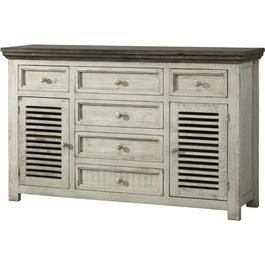 6 Drawer, 2 Door White Stone Server thumb