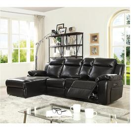 2 Piece Black Leather Gel Power Sofa Sectional thumb
