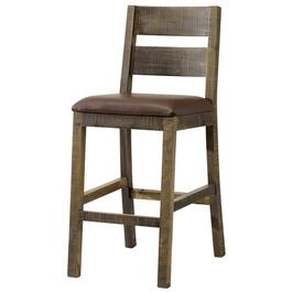 "30"" Multicolour Wooden Bar Stool, with Brown Leather Seat thumb"