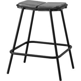"24"" Warm Grey Moro Bar Stool, with Wooden Seat and Iron Base thumb"